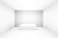 Empty white stage stand for exhibit in room with lighting effect. 3D render Stock Photos
