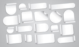 Empty white stickers set Royalty Free Stock Photos