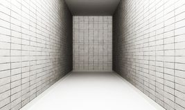 Empty white tiled room. White tiled walls in a long narrow room Royalty Free Stock Photo