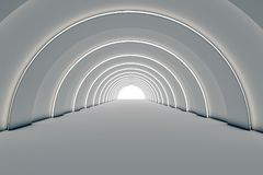 Empty white tunnel with the bright light infront in 3d rendering. 3drender, corridor, architecture, geometri, ilustration, background, path, way, hall, hallway royalty free illustration