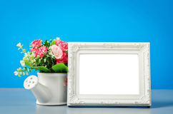 The empty white vintage photo frame. Stock Photography