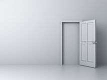 Empty white wall with blocked door royalty free illustration