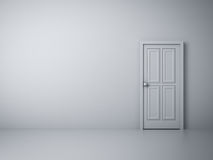 Empty white wall with closed door Royalty Free Stock Photos
