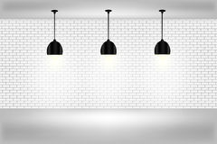 Empty white wall with lamps Stock Photo