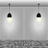 Empty white wall with lamps Stock Image