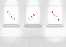 Empty white wall with spot lights and clean floor. With sale text vector illustration