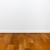 Empty white wall and wooden floor Royalty Free Stock Photos