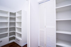 Empty white wardrobe area Stock Images