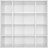 Empty white wooden bookshelf Stock Images