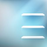 Empty white wooden shelf at the wall. royalty free illustration