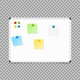 Empty whiteboard. magnetic board isolated on transparent background. Vector illustration. stock illustration