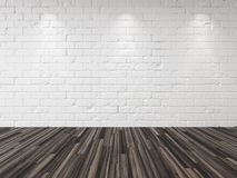 Empty whitewashed brick room background. Empty whitewashed brick room with recessed down lights illuminating the brick wall and a hardwood parquet floor in an Stock Image