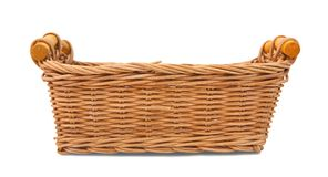 Empty wicker basket. Isolated over white with clipping path Stock Photos
