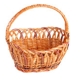 Empty wicker basket. Isolated on white Royalty Free Stock Photography