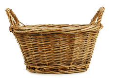 Empty wicker basket. Isolated on white. Clipping path included Royalty Free Stock Photo