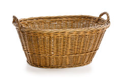 Empty wicker basket. On white background Royalty Free Stock Photography