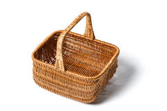 Empty wicker basket. On white background, high angle view Royalty Free Stock Photography