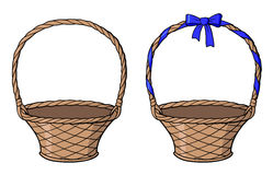 Empty wicker basket. With blue bow and ribbon on its handle. Hand drawn vector illustration. Isolated on white stock illustration