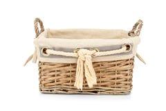 Empty wicker basket. On white background Royalty Free Stock Image