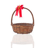 Empty wicker basket isolated Royalty Free Stock Photography