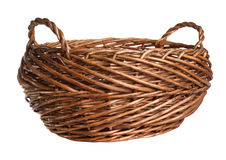 Empty wicker basket. Isolated over white Stock Photo
