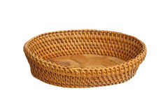 An empty wicker basket isolated over white background. Royalty Free Stock Photos