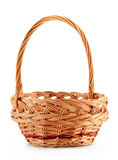 Empty wicker basket isolated on white Stock Image