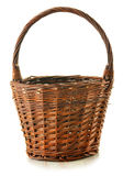 Empty wicker basket isolated on white Stock Photography