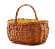 Empty wicker basket isolated on white Stock Images