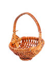 Empty wicker basket isolated on white Royalty Free Stock Images