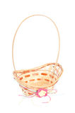 Empty wicker basket isolated on white Royalty Free Stock Photo
