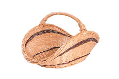 Empty wicker basket isolated on white Royalty Free Stock Photography