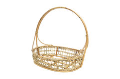 Empty wicker basket isolated on white. An empty wicker basket isolated on white Royalty Free Stock Photography