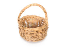 Empty wicker basket isolated Stock Image