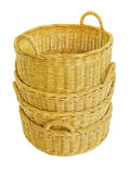 Empty wicker basket. Isolated on white Royalty Free Stock Image