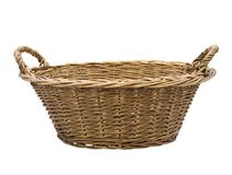 Empty wicker basket. Isolated on white background Stock Photo