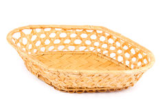 Empty wicker basket isolated on white background Royalty Free Stock Image