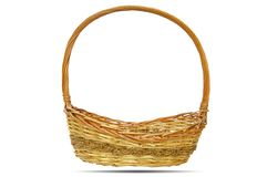 Empty wicker basket isolated on white background Royalty Free Stock Images