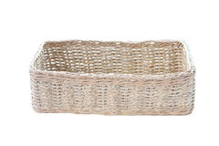 Empty wicker basket isolated. Royalty Free Stock Photos