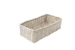 Empty wicker basket isolated. Stock Photo