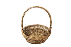 Empty wicker basket isolated on white background royalty free stock photo
