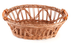 Empty wicker basket isolated. Wicker basket isolated on white background Royalty Free Stock Images