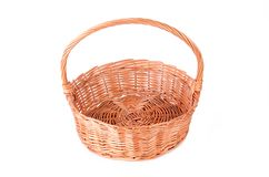 Empty wicker basket isolated on a white Royalty Free Stock Images