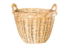 Empty wicker basket isolated Stock Photo