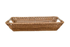 Empty wicker basket isolated on white background Stock Photos