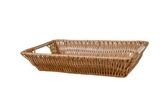 Empty wicker basket isolated on white background Stock Images