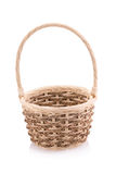 Empty wicker basket isolated on white background royalty free stock photography