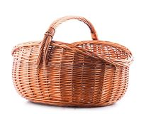 Empty wicker basket isolated on white Royalty Free Stock Image