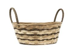 Empty wicker basket isolated on white background frontal royalty free stock photography