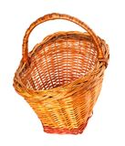 Empty wicker basket. Isolated on white background. Royalty Free Stock Photos
